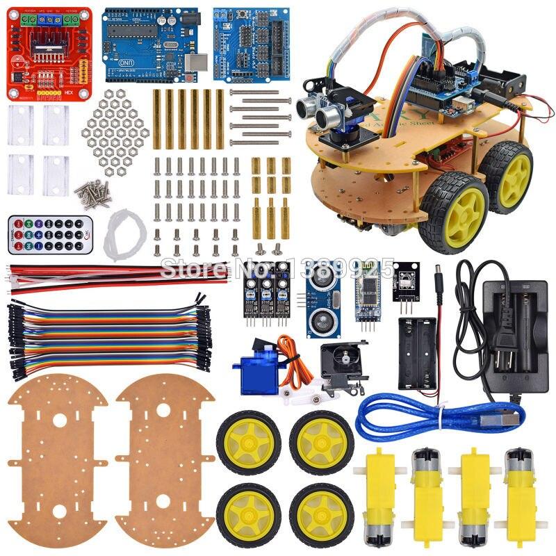 Le Kit de voiture Robot intelligent comprend UNO R3, capteur à ultrasons, Module Bluetooth pour commencer avec tutoriel