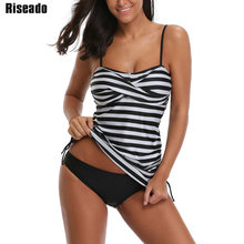Купить с кэшбэком Riseado New Two-piece Swimsuit 2019 Swimwear Women Striped Printing Sexy Push Up Swimsuits Tankini Bathing Suits Beachwear