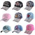 Marca popular joven muchacha mujer denim gorras de béisbol al por mayor nuevas mujeres de la moda en forma de corazón rhinestone vaqueros snapback sombreros