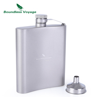 Boundless Voyage Titanium Hip Flask Outdoor Camping Hiking Climbing Pocket Alcohol Whiskey Flask Flagon Wine Pot 7oz/200ml