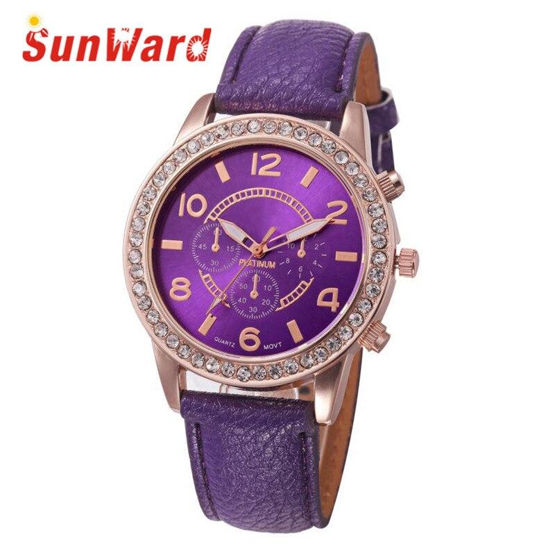 Sunward Relogio Feminino Geneva Luxury Diamond Analog Leather Quartz Wrist Fashion Women's Ladies Watches Horloge 17May5