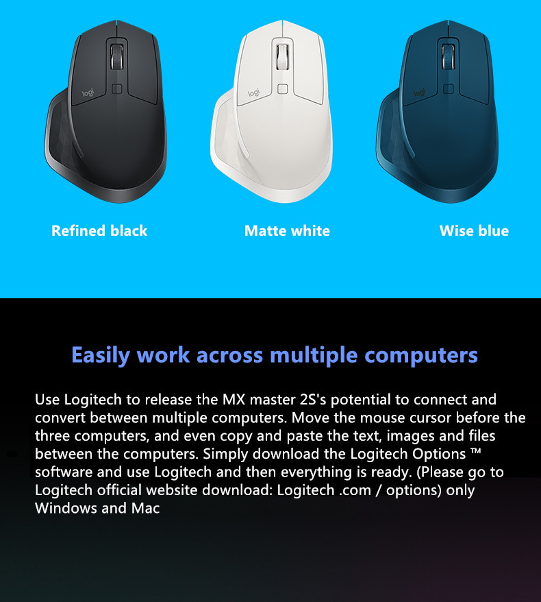 Logitech MX Master2S wireless Bluetooth mouse business office home dual  mode connection excellent combination of Bluetooth mouse