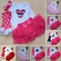 Sistema de la Ropa de Primavera Recién Nacido Bebe Conjuntos Tutú de La Falda + Venda + Calcetines 4 Unids Ropa Baby Girl Moda de Manga Larga Sistema de la Ropa Bebe