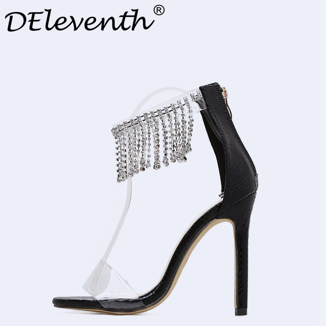 2018 Hot Sale Women Luxury Rhinestone Peep Toe Sandals Super High Heels  Woman Female Transparent Crystal Party Dress Shoes Gold1 5fa8ef07e