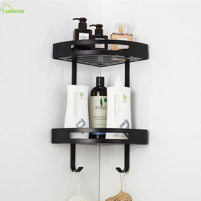 Europe Antique Black Bathroom Shelf Toilet Corner Rack 304 Stainless Steel Basket Wall Mounted Accessories