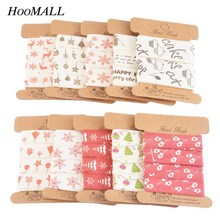 Hoomall 1PC Christmas Ribbon Snowflake Cartoon Print Cotton Ribbon Wedding Christmas Decorations For Home New Year DIY Crafts