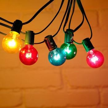 LED G40 ที่มีสีสันหลอดไฟลูกโลกไฟ 25ft 25pcs Courtyard กันน้ำโคมไฟหลอดไฟงานแต่งงาน Garden Decor