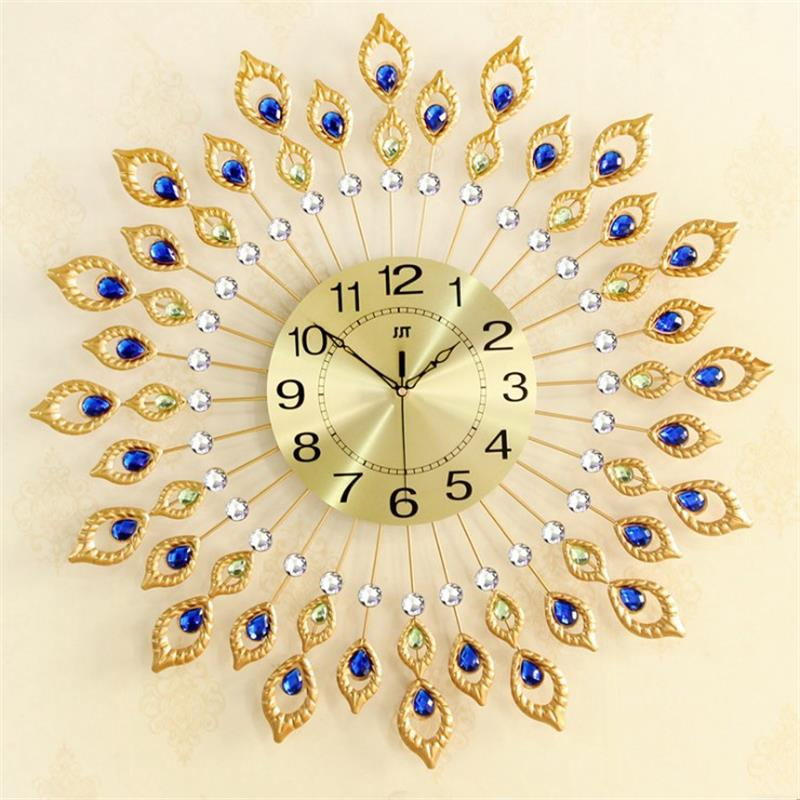 addee5581 Golden Iron Wall Clock For Living Room Peacock Feather Shape Wall Watch  Modern Design Mute Bedroom Clock Wall Large Home Decor