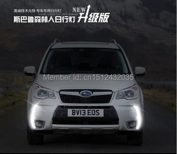 Osmrk free shipping, Guiding light style LED Car DRL daytime running lights with dimmer function for subaru forester 2013 2014