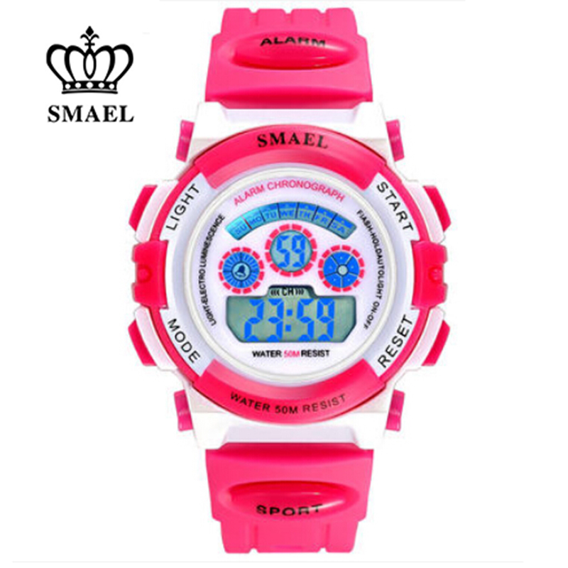 SMAEL Children LED Display Watch 50m Waterproof Kids Sports Watches Multifunction Electronic Boys&girls Students Wristatches