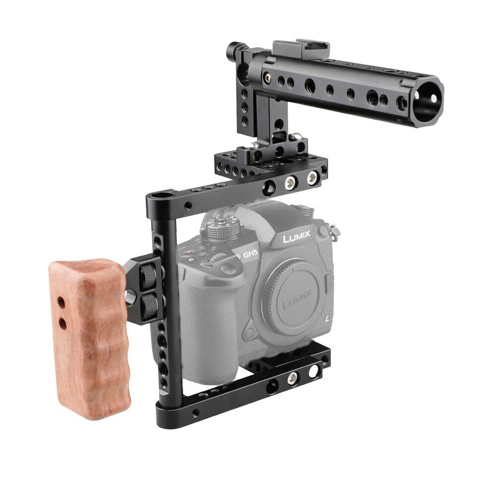 CAMVATE DSLR Caméra Cage Top Poignée Bois Grip pour Canon 600D 70D 80D