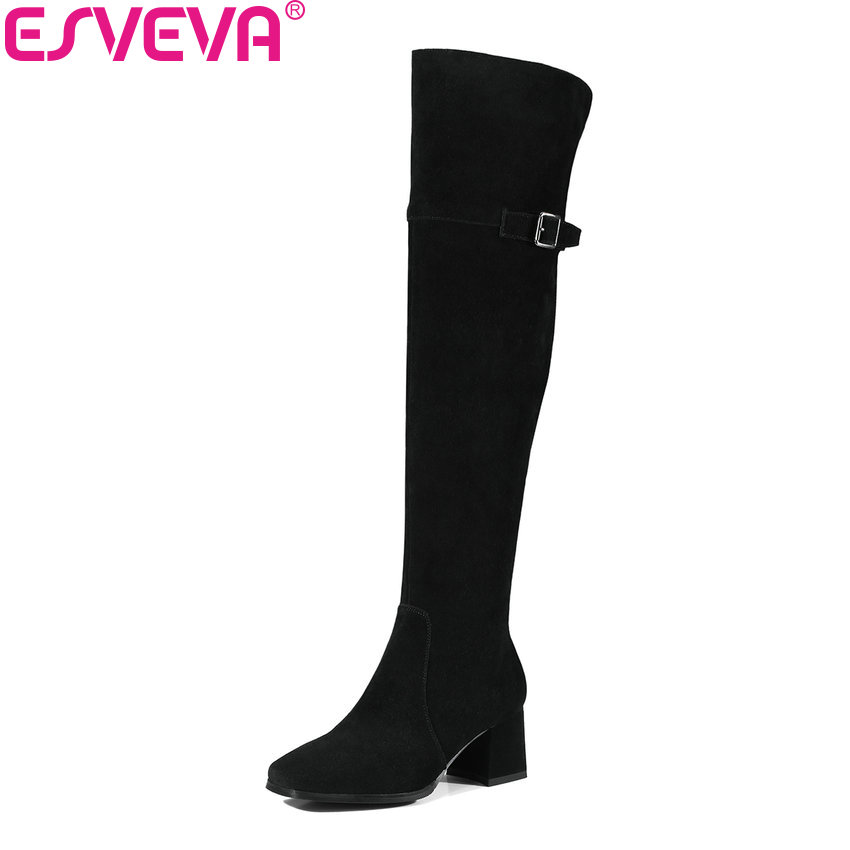 ESVEVA 2018 Women Boots Cow Suede Out Door Square Toe Warm Fur Over The Knee Boots Square High Heels Long Shoes Size 34-39 esveva 2018 women boots cow leather suede out door buckle square high heels ankle boots pointed toe warm fur boots size 34 39