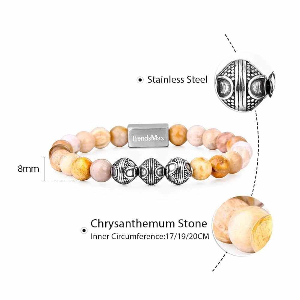 8MM Chrysanthemum Beaded Bracelet Women Men Natural Stone Gemstone Stretch Link Stainless Steel Wristband Jewelry Gifts TBB00605