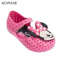 Mini Melissa Furadinha + Minnie II 2019 Summer Cartoon Boys Girl Jelly Shoes Girls Sandals Melissa Kids Beach Sandal Toddler