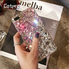 COTPRCO Transparent Bling Diamond Case For iPhone XS X 8 7 Plus Luxury Crystal Rhinestone Phone Cover Glitter