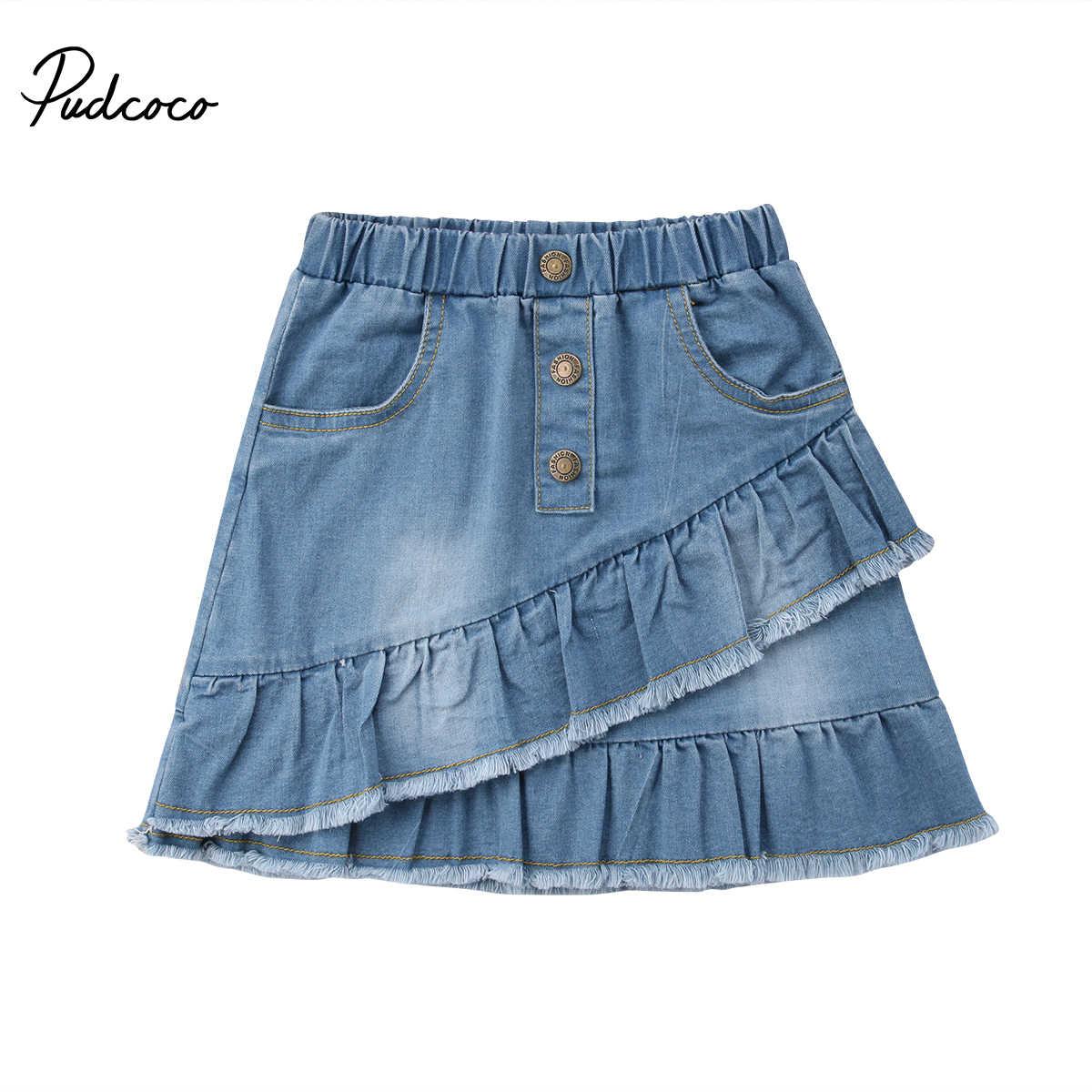 d41adea9ca Kids Button Skirt Jeans for Girl Denim Mini Skirt Casual Fashion Baby Girl  Cute Toddler Blue