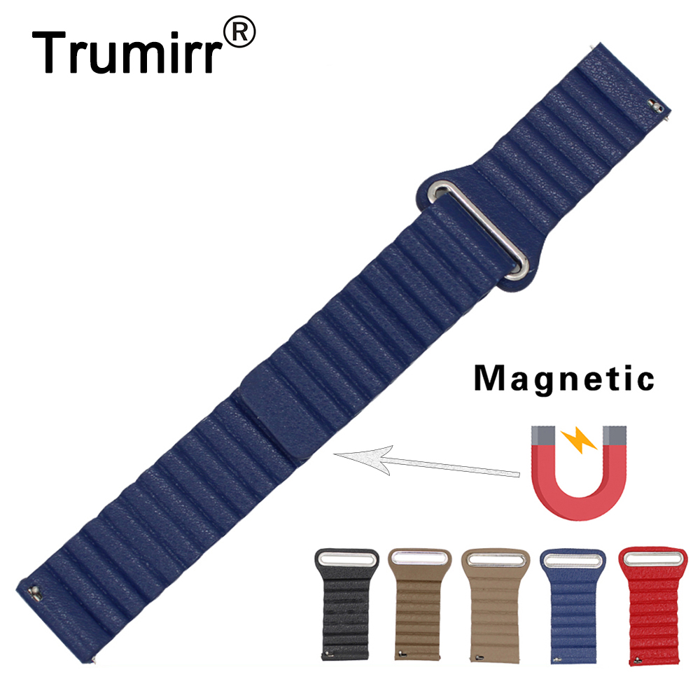 22mm Magnetic Genuine Leather Watch Band for Samsung Gear S3 Classic Frontier Gear 2 Neo Live Quick Release Strap Wrist Bracelet crested genuine leather strap for samsung gear s3 watch band wrist bracelet leather watchband metal buck belt