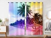 Hommomh 커튼 (2 패널) 그로멧 탑 어둡게 블랙 아웃 룸 해변 휴가 코코넛 나무
