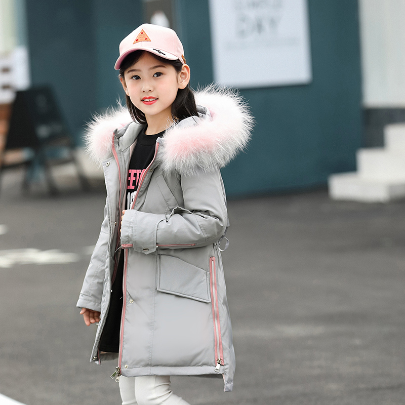 2018 Girls Winter Jackets with Fur Warm Teenage Girls Clothing 10 12 14 Year Coat Toddler Girl Winter Clothes Puffer Jacket Kids цена