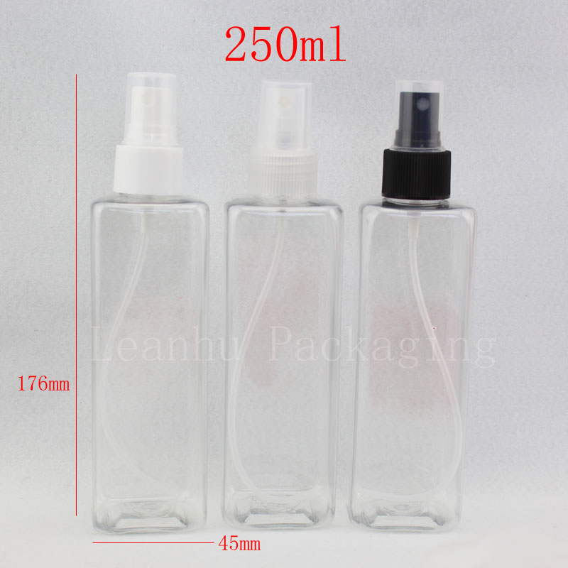 250ml transparent square bottle with spray (2)