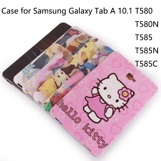 TPU Protective Cover for Samsung Galaxy Tab A 10.1 T580 T585 T580N T585N T585C Cartoon picture Tablet Case cover+Screen Film+OTG