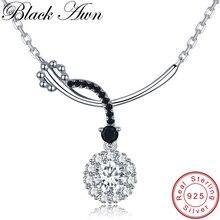 [BLACK AWN] классическое 925 пробы Серебряное ювелирное ожерелье для женщин Подвески в виде цветов женский Bijoux подарок для девушки K027
