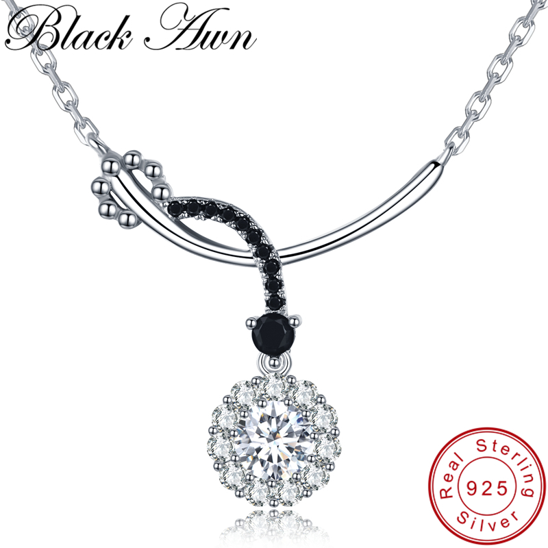 [BLACK AWN] Classic 925 Sterling Silver Jewelry Necklace For Women Flower Necklaces Pendants Female Bijoux Girl's Gift K027