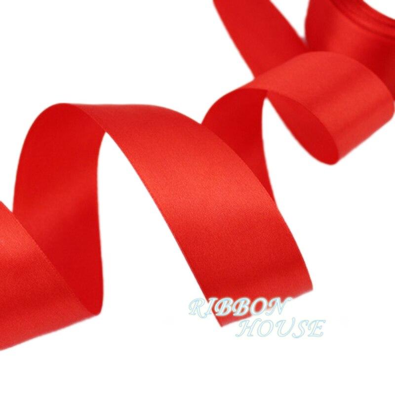 (25 ярдов/рулон) 40 мм красный одного Уход за кожей лица атласной лентой Тесьма украшения подарок Рождество Ленты