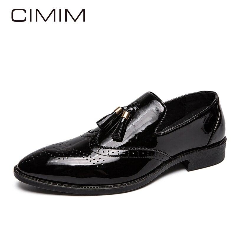 CIMIM ยี่ห้อสีดำรองเท้าผู้ชายบุรุษสิทธิบัตรรองเท้าหนังสีดำหรูหรารองเท้าแตะ Loafers Slip บนสำนักงานอย่างเป็นทางการรองเท้าผู้ชาย-ใน รองเท้าลำลองของผู้ชาย จาก รองเท้า บน   2