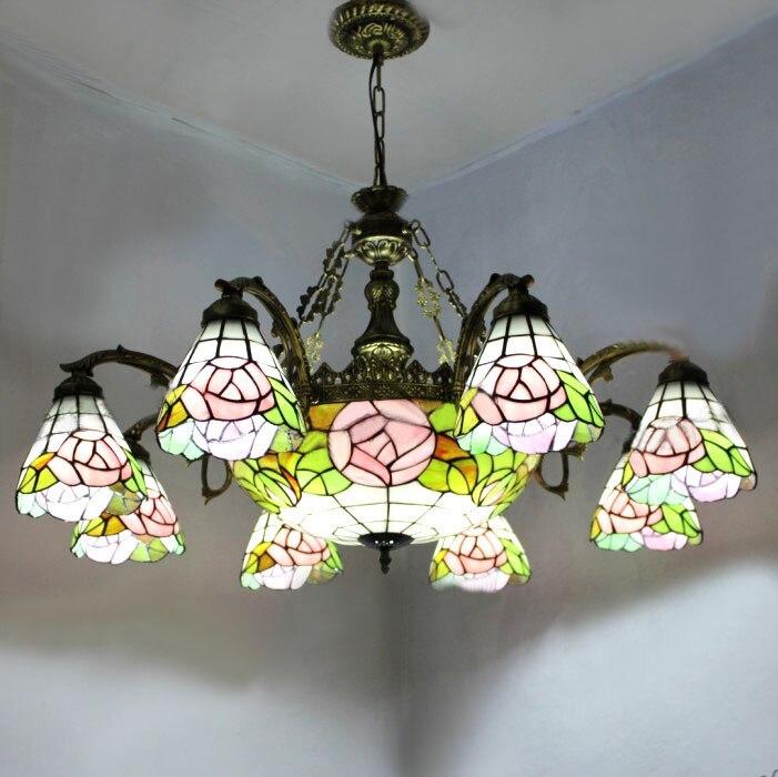 rose shape tiffany chandelier european vintage simple glass suspension light dining room hanging lamp pendientes lustre - Tiffany Chandelier