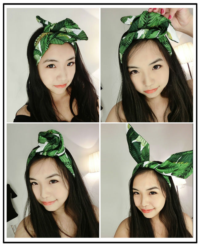 1950s Women Vintage Rockabilly Pin Up Style Green Palm Leaves Print  Headband Hair Head Bands Accessories Bowtie Rabbit Ear
