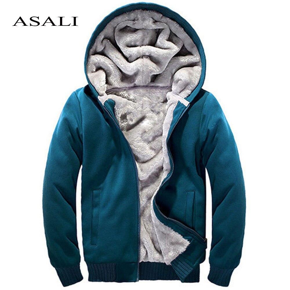 ASALI 2017 Hommes Polaire Automne Hiver Chaud Épais Solide Hoodies Sweat Hommes Casual Marque Pulls de Survêtement Designer 4XL 5XL