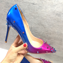 Blue Woman high heel Rivet Decor Pointed Toe Sexy Pump Thin heel female dress shoes stiletto heels OL outfit slip-on party shoes недорго, оригинальная цена