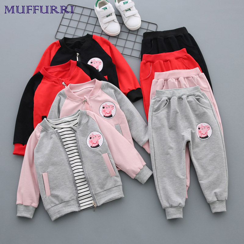 Muffurri Baby Boys Clothes Set Autumn Kids Girls Clothing Set 3PCS Fashion Peppa Pig Cartoon Jacket T Shirt Pants Children Suit цыпленок с 6 мес 80 гр