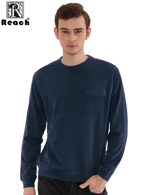 Reach Long Sleeve T Shirt Men Tshirts Men Cotton Casual Man T Shirt Solid Color With Pocket Tops Homme Autumn 7 Colors New