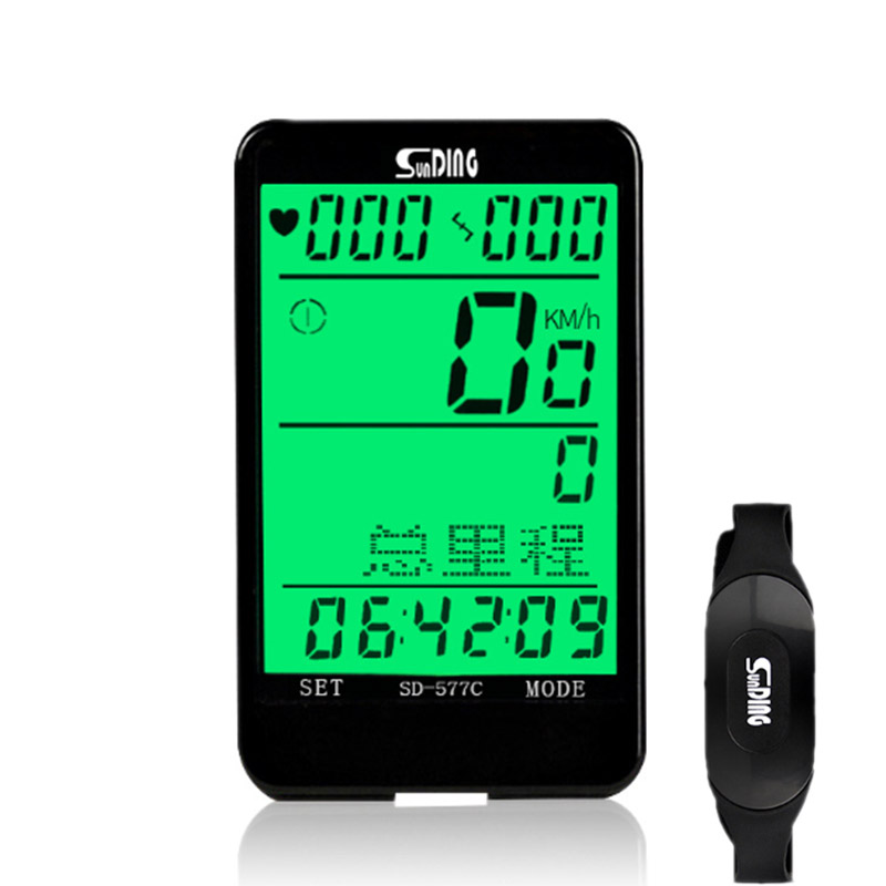 Sunding SD 3 in 1 Wireless Bike Computer Bicycle Odometer Speedometer Heart Rate Monitor Speed Cadence Sensor Stopwatch