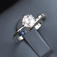 Charm 1 5Ct Wedding Ring Sapphire Ring Women Party Set Pure 925 Sterling Solid Silver Size