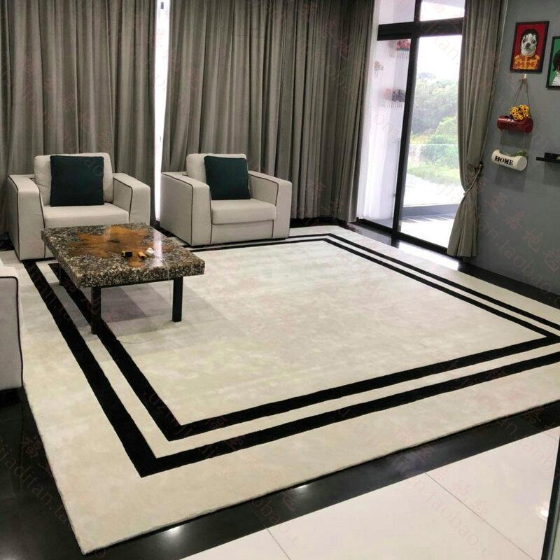 Tapis acrylique Simple personnalisé tapis de salon moderne salon Table basse chambre tapis fait main tapis pour salon