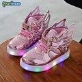 Mamimore moda infantil sneakers luminosas com asa luzes piscando meninos meninas shoes primavera casual crianças light up shoes quente