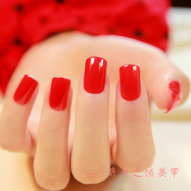 Online Shop Beautiful Chinese red false nails french Pure color cute ...