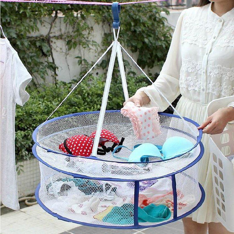 Dual Layers Folding Drying Racks & Nets Mesh Blue Sweater Underwear Bra Hanging Basket Laundry Storage & Organization