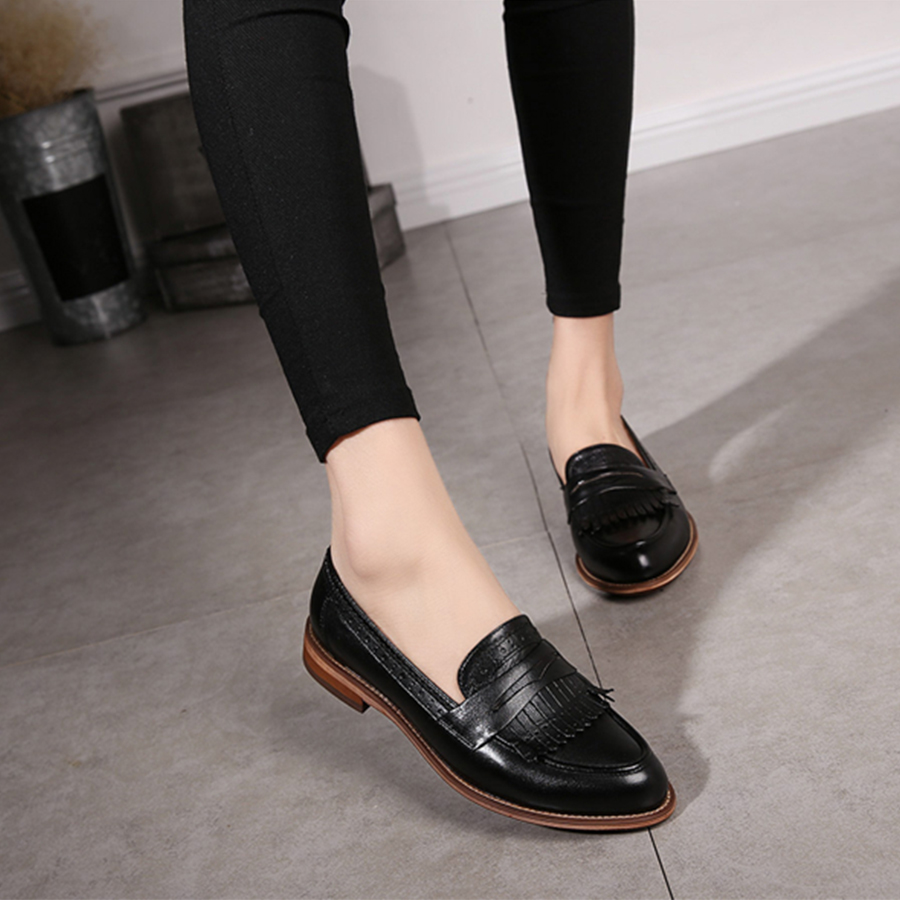 Image 3 - Yinzo Women's Flats Oxford Shoes Woman Genuine Leather Sneakers Ladies Brogues Vintage Casual Shoes Shoes For Women Footwear-in Women's Flats from Shoes