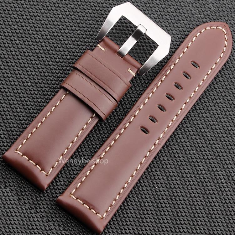 CARLYWET 22 24 26mm Schwarz Braun Echtes Leder Handgemacht Dickes - Uhrenzubehör - Foto 3