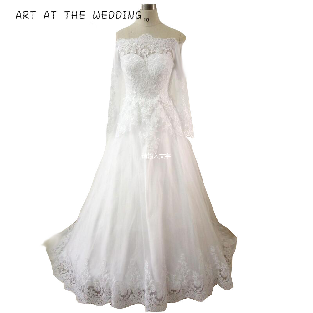 ART AT THE WEDDING 2019 New Style Boat Neck Court Train A Line Long Sleeve Lace Wedding Dresses Muslim Bride Dresses