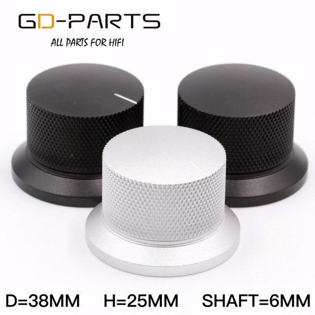 GD PARTS 38 × 25 ミリメートル機械加工アルミノブボリューム音用ハイファイオーディオアンプターンテーブルレコーダーラジオシルバー黒 1 PC