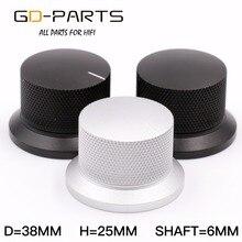 GD PARTS 38x25mm Gefreesd Aluminium Knop Volume Geluid Regelknop Hifi Audio AMP Turntable Recorder Radio Zilver zwart 1 PC