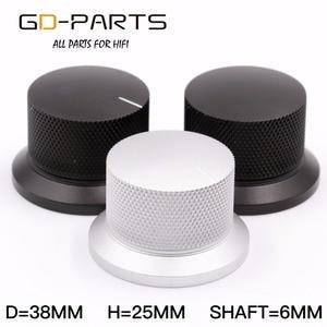 Image 1 - GD PARTS 38x25mm Machined Aluminum Knob Volume Sound Control Knob For Hifi Audio AMP Turntable Recorder Radio Silver Black 1PC