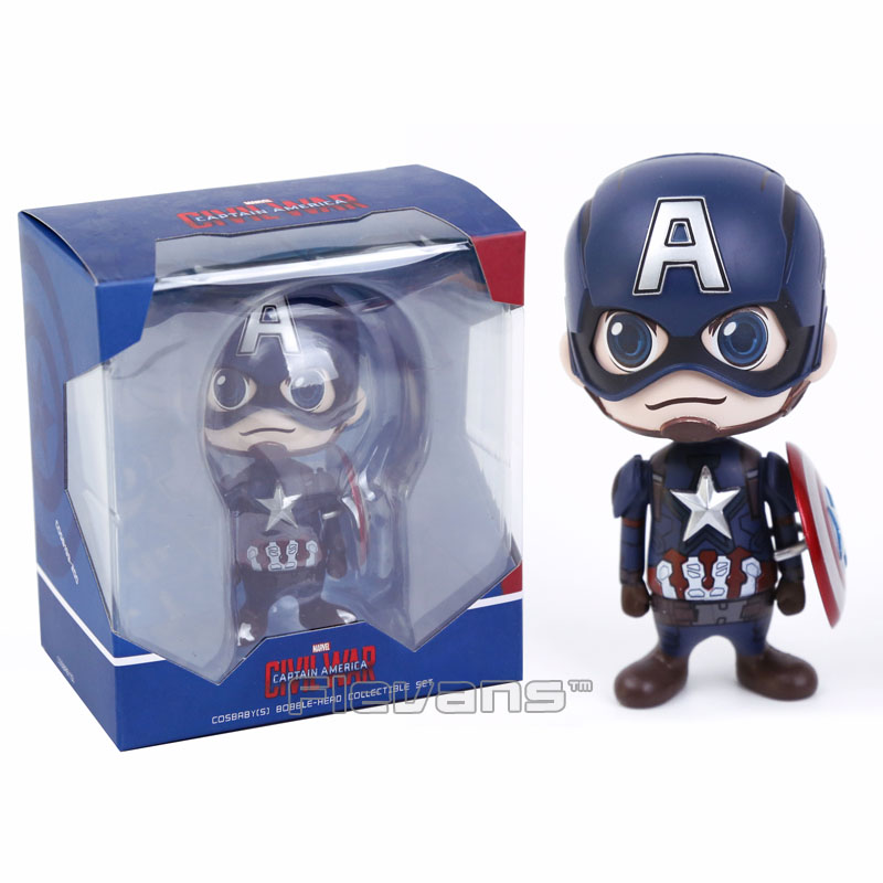 Captain America Civil War Bobble Head PVC Action Figure Collectible Model Toy Doll 10cm  цена и фото