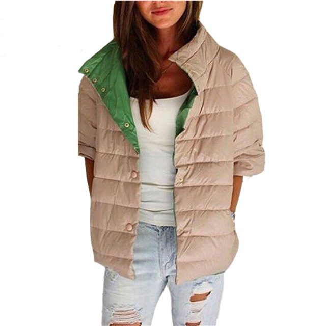 Jaqueta Feminina 2016 Autumn Winter Jacket Women Coats Stand Collar Half Sleeve Cotton Parka Duck Down Coat Winterjas Dames