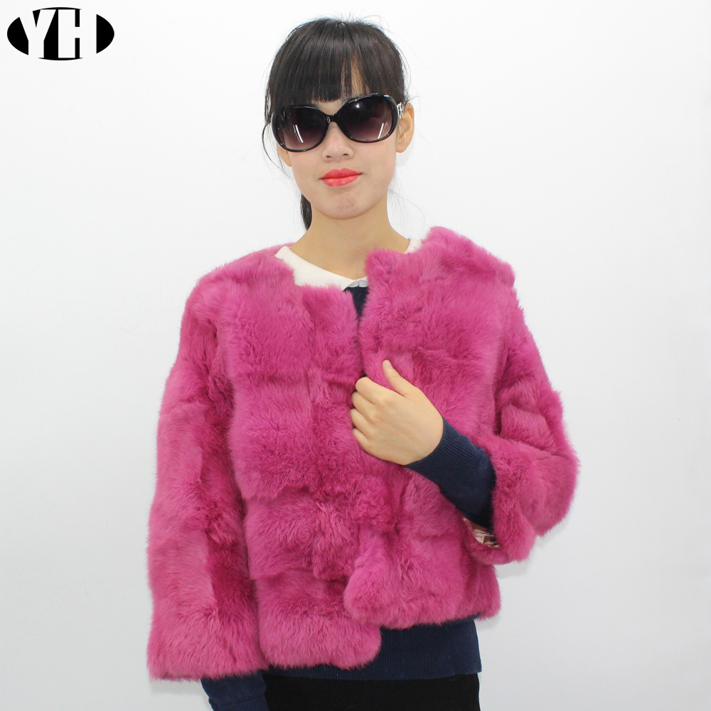 Women Genuine Rabbit Fur Coat lady natural rabbit fur jacket short Rabbit Fur outerwear cute